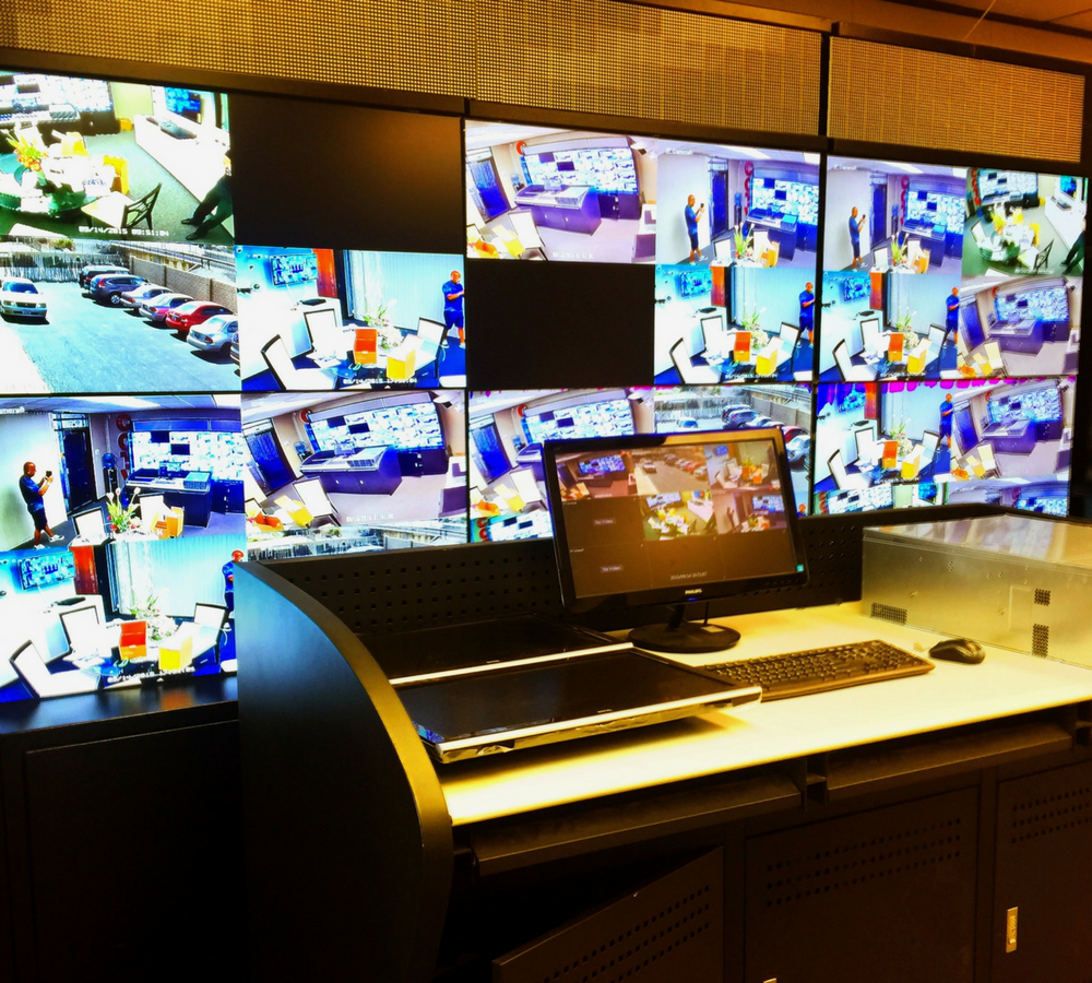 Security room with multiple camera angle viewing